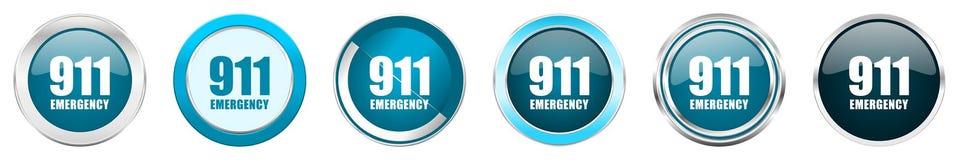 在6个选择的数字紧急911银色金属镀铬物边界象,被设置在白色背景隔绝的网蓝色圆的按钮 库存例证