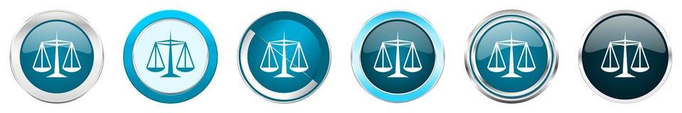 在6个选择的正义银色金属镀铬物边界象,被设置在白色背景隔绝的网蓝色圆的按钮 库存例证