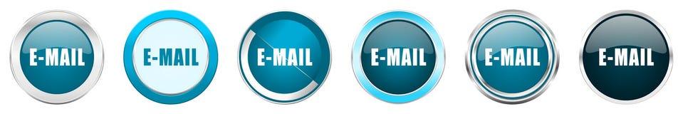 在6个选择的电子邮件银色金属镀铬物边界象,被设置在白色背景隔绝的网蓝色圆的按钮 向量例证