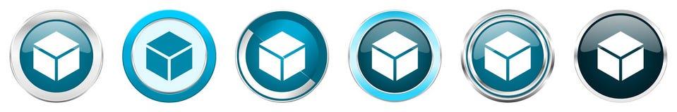 在6个选择的箱子银色金属镀铬物边界象,被设置在白色背景隔绝的网蓝色圆的按钮 皇族释放例证