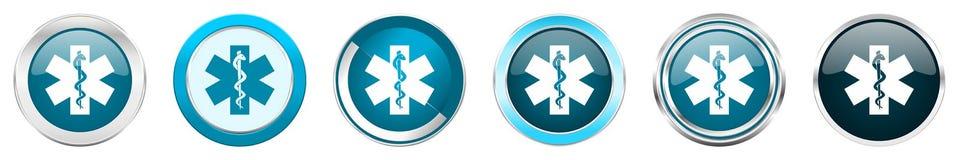 在6个选择的紧急银色金属镀铬物边界象,被设置在白色背景隔绝的网蓝色圆的按钮 向量例证