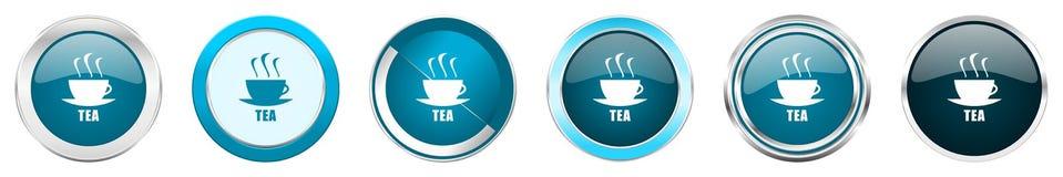 在6个选择的茶银色金属镀铬物边界象,被设置在白色背景隔绝的网蓝色圆的按钮 向量例证