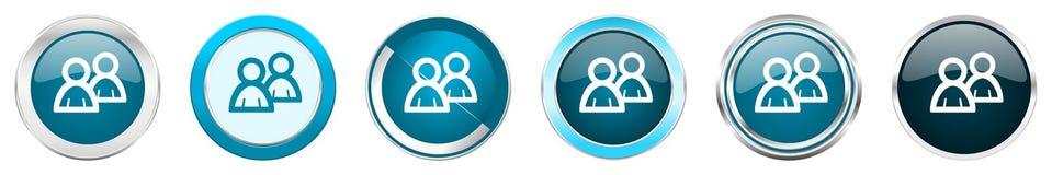 在6个选择的论坛银色金属镀铬物边界象,被设置在白色背景隔绝的网蓝色圆的按钮 向量例证