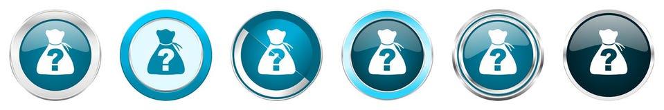在6个选择的谜语银色金属镀铬物边界象,被设置在白色背景隔绝的网蓝色圆的按钮 向量例证