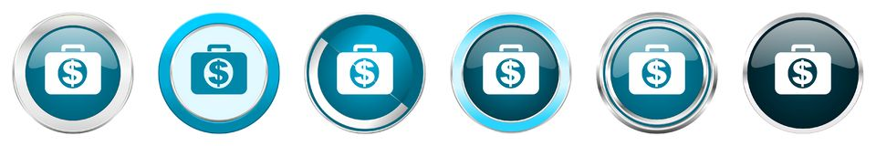 在6个选择的财政银色金属镀铬物边界象,被设置在白色背景隔绝的网蓝色圆的按钮 向量例证