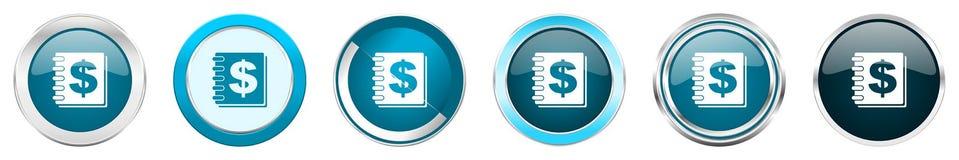 在6个选择的金钱银色金属镀铬物边界象,被设置在白色背景隔绝的网蓝色圆的按钮 向量例证