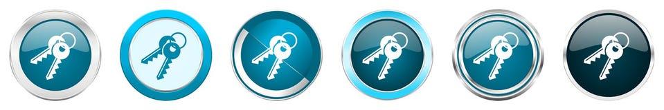 在6个选择的钥匙银色金属镀铬物边界象,被设置在白色背景隔绝的网蓝色圆的按钮 库存例证