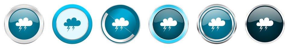 在6个选择的风暴银色金属镀铬物边界象,被设置在白色背景隔绝的网蓝色圆的按钮 向量例证