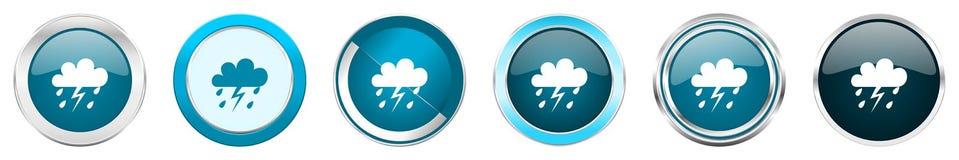 在6个选择的风暴银色金属镀铬物边界象,被设置在白色背景隔绝的网蓝色圆的按钮 库存例证