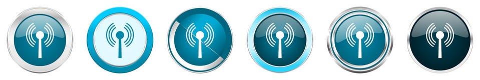 在6个选择的Wifi银色金属镀铬物边界象,被设置在白色背景隔绝的网蓝色圆的按钮 库存例证