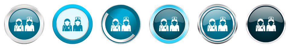 在6个选择,套的医院银色金属镀铬物边界象在白色背景隔绝的网蓝色圆的按钮 皇族释放例证