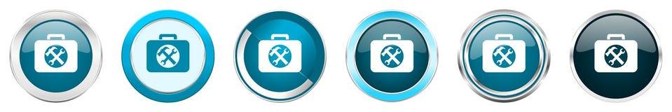 在6个选择,套的工具箱银色金属镀铬物边界象在白色背景隔绝的网蓝色圆的按钮 向量例证