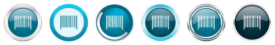 在6个选择,套的条形码银色金属镀铬物边界象在白色背景隔绝的网蓝色圆的按钮 库存例证