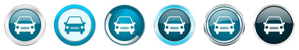 在6个选择,套的汽车银色金属镀铬物边界象在白色背景隔绝的网蓝色圆的按钮 向量例证