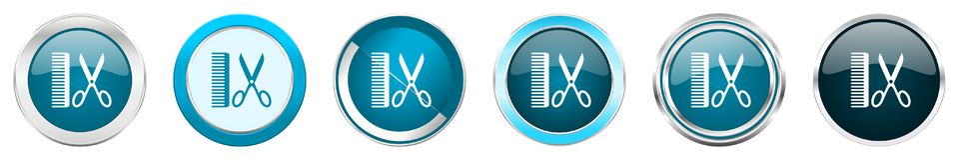 在6个选择,套的理发师银色金属镀铬物边界象在白色背景隔绝的网蓝色圆的按钮 皇族释放例证