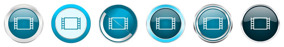 在6个选择,套的电影银色金属镀铬物边界象在白色背景隔绝的网蓝色圆的按钮 向量例证