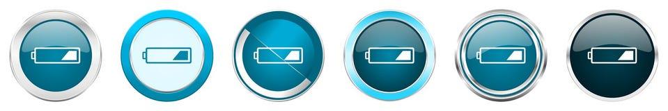 在6个选择,套的电池银色金属镀铬物边界象在白色背景隔绝的网蓝色圆的按钮 向量例证