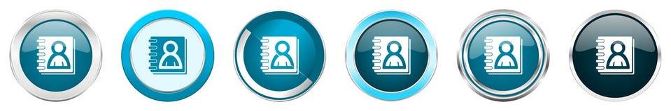 在6个选择,套的通讯录银色金属镀铬物边界象在白色背景隔绝的网蓝色圆的按钮 皇族释放例证