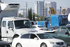 在405个FWY洛杉矶,加州的交通堵塞 免版税库存照片