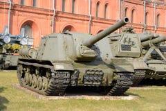 在1944年122个mm自走枪ISU-122样品 库存图片
