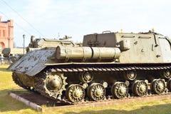 在1944年100个mm自走枪SU-100样品 库存图片