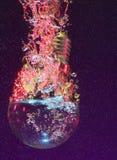 在水之下的电灯泡光 免版税库存照片