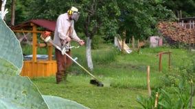 在水井附近聚焦对人饰物草的变化在庭院上 股票视频