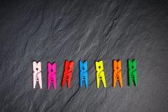在黑人委员会的五颜六色的服装扣子 库存照片