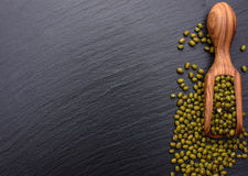 在黑人石委员会的背景的豆木瓢,文本的,绿豆地方 免版税库存照片