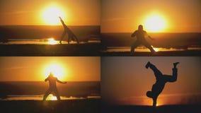 4在1 -人运动员是在橙色日落前面的执行的capoeira战斗 免版税库存照片