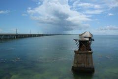 在巴伊亚海湾国家公园,佛罗里达群岛的老巴伊亚本田路轨桥梁 库存照片
