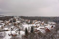 在巴伐利亚的冬天villiage 库存图片
