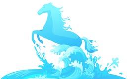 在水传染媒介外面的跳跃的马 皇族释放例证