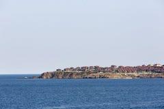 在索佐波尔,保加利亚岸的海滨别墅  免版税库存照片
