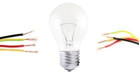 在任何一方被找出的白炽光电灯泡和导线 库存图片