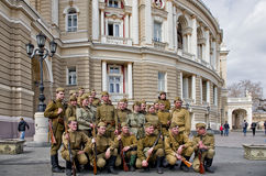 在1944年作战事件的重建 免版税库存照片