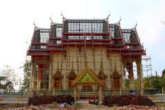 在整修下的泰国佛教教会 库存照片