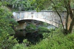 在1904修筑的老车桥梁在黝黑的河 免版税库存图片