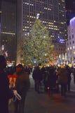 在洛克菲勒中心的圣诞树,曼哈顿,纽约 免版税库存图片