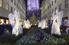 在洛克菲勒中心的圣诞树,曼哈顿,纽约 库存图片