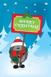 在经典冬天背景的逗人喜爱的圣诞节猬 图库摄影