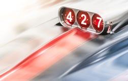 在经典汽车的吹风机427立方体引擎的 免版税库存图片