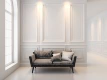 在经典白色内部的沙发 3D回报内部嘲笑  免版税库存照片