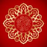 在经典红色背景的中国葡萄酒元素 免版税库存图片