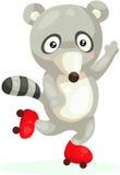 在滑冰的逗人喜爱的浣熊 免版税库存图片