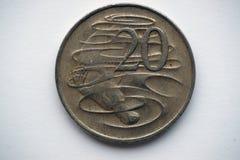 在20分的衡量单位的澳大利亚硬币与platypus的图片的 免版税库存照片