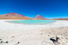 在玻利维亚的安地斯的绿色盐水湖和利坎卡武尔火山火山 免版税库存图片