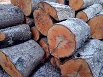 在仓前空地堆的被锯的木头裁减 木柴 栈木头 免版税库存照片