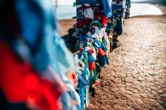 在贝加尔湖的僧人丝带 库存图片