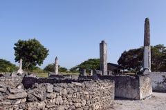 在巴加莫约镇(坦桑尼亚)附近的Kaole废墟 库存照片